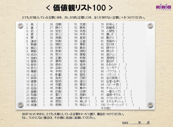 価値観リスト100