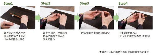 基本の箸の持ち上げ方