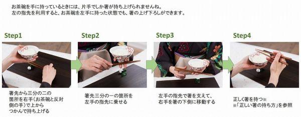 (応用)器を持ちながらの箸の持ち上げ方